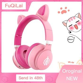 Child Bluetooth earphones headphones for computer xiaomi with microphones Support TF card New Glowing pink wireless headphones