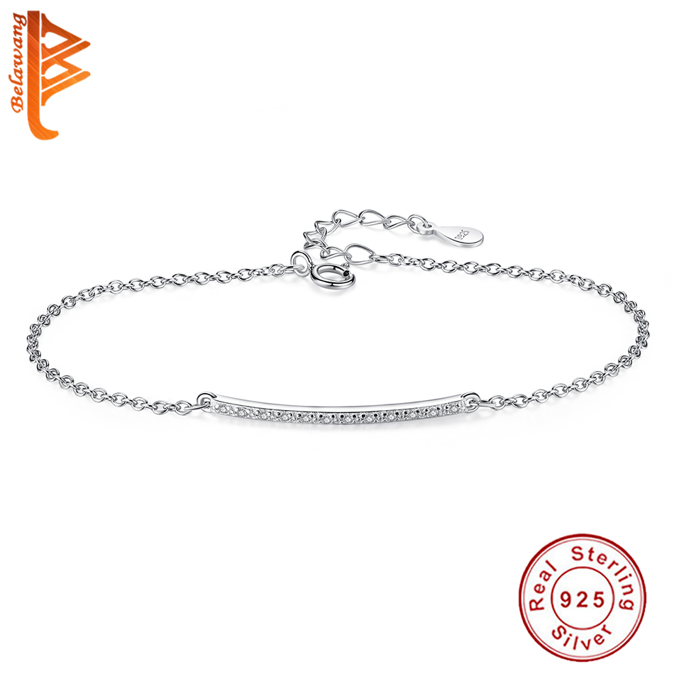 Classic 925 Sterling Silver CZ Zircon Crystal Long Bar Charm Bracelet For Women Lady Fashion Link Chain Square Bracelet Jewelry