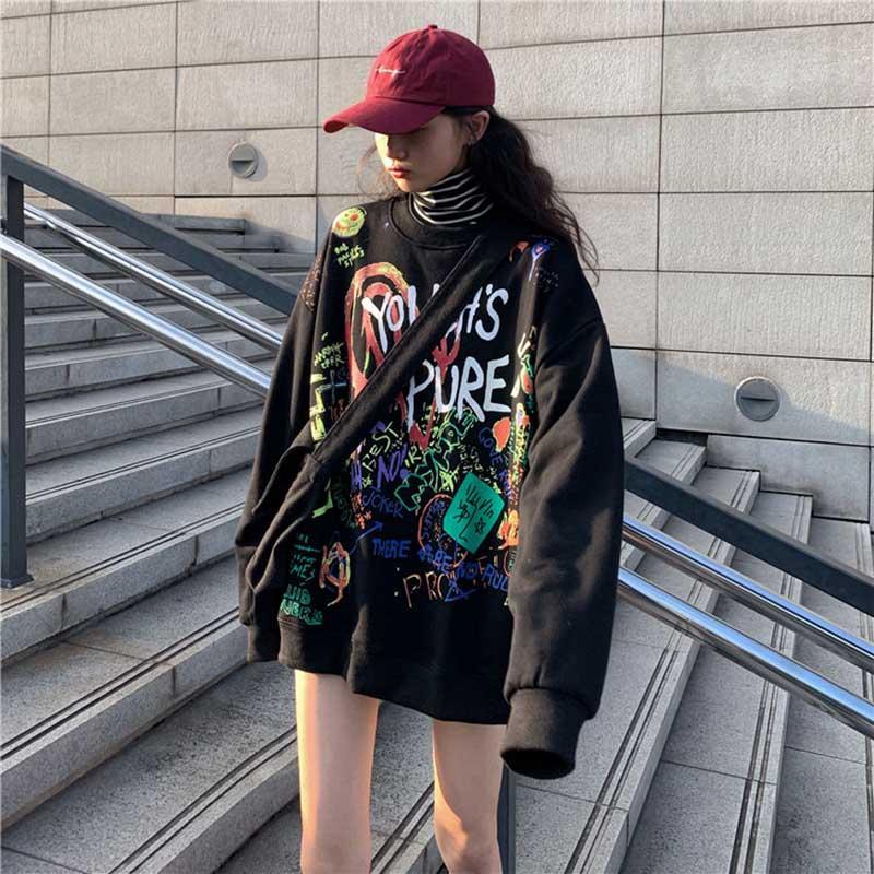 NiceMix  2019 Fashion Streetwear Print Lady Sweatshirts Women O-Neck Loose Clothes Female Autumn Hip Hop Casual Pullovers