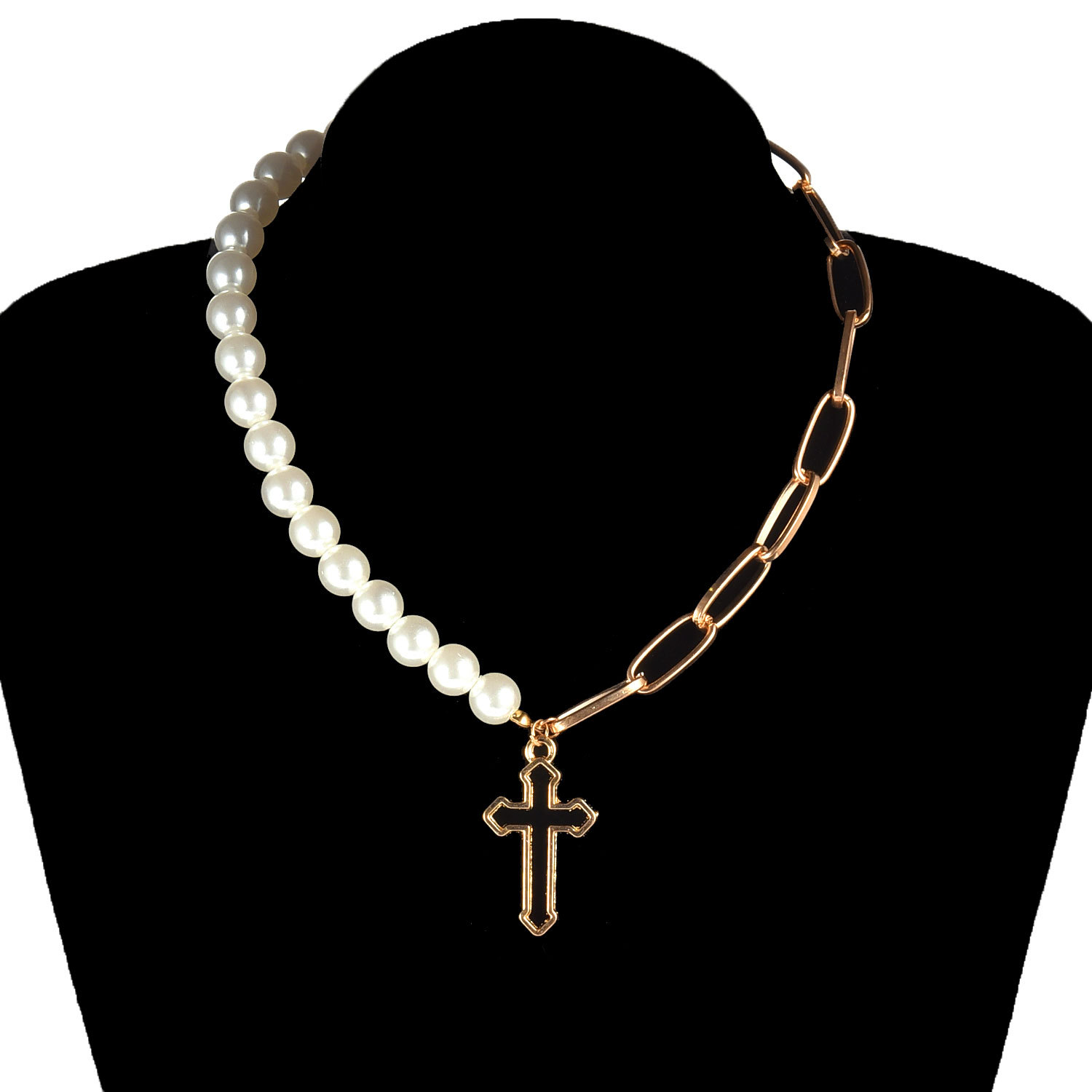 Punk Hollow Cross Pendant Necklaces for Women Gold Color Imitation Pearls Choker Clavicle Chain Fashion Jewelry Necklace Female