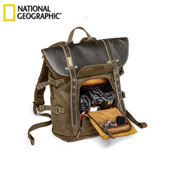 цена на National Geographic Africa Collection NG A5280 Laptop Backpack SLR Camera Bag Canvas Authentic Leather Photo Bag