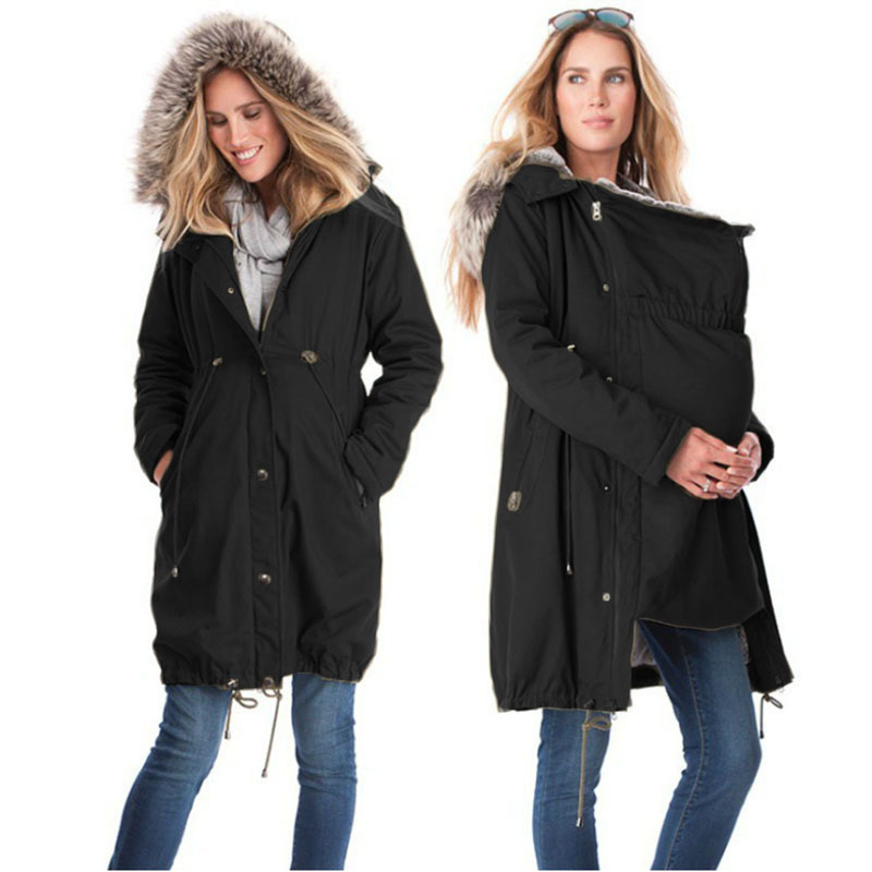 Large Size Maternity Spring Coat Kangaroo Outfit Keep Thin Windbreaker Mother Outwear Pregnant Woman Baby Carrier Hooded Coat