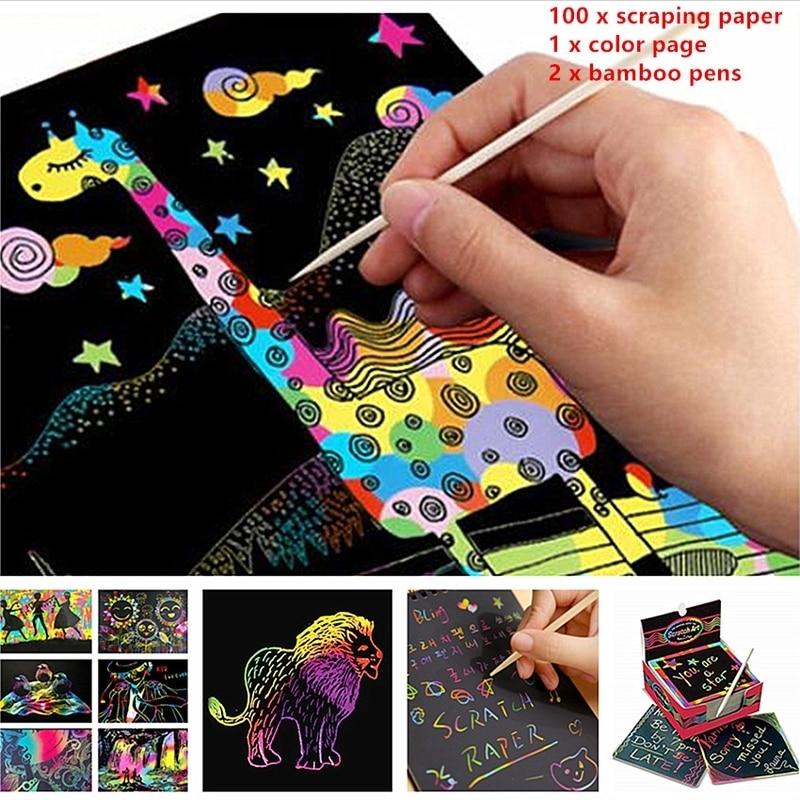 100Pcs/set Mini Magic Color Rainbow Scratch Paper Black DIY Drawing Toys Painting Book For Kids Fashion Scratch Paper Supplies