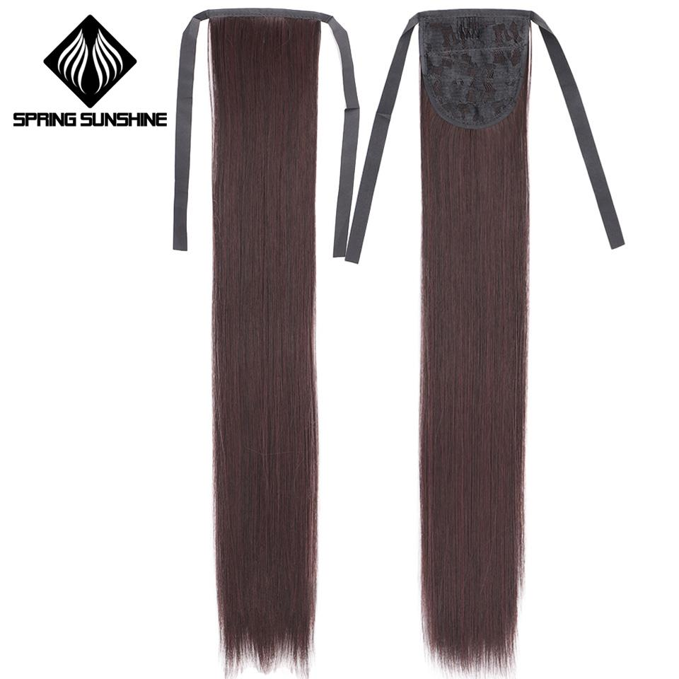 60cm Long Straight Clip In Hair Tail False Hair Ponytail Hairpiece With Hairpins Synthetic Hair Pony Tail Hair Extensions