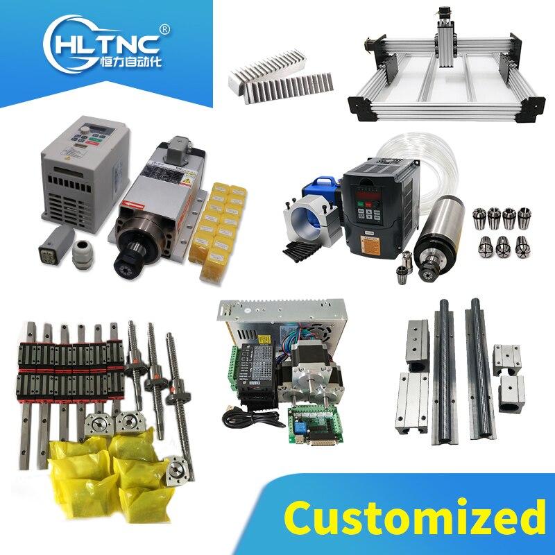 Livraison gratuite personnalisée tous les modèles et longueurs de rails linéaires, vis à billes, jeux de moteurs, ensembles de broches, crémaillère et engrenages pour CNC
