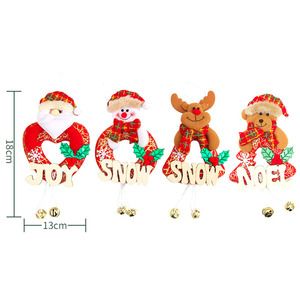 Image 5 - 4pcs Christmas Tree Alphabet Bell Pendant Xmas Gift Santa Claus Snowman Elk Bear Toy Doll Hang Decorations For Home Navidad