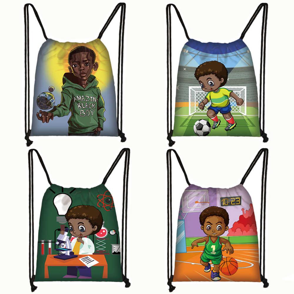 cartoon afro boys print backpack children book bag teenager brown boy storage bags men drawstring bag GYM Sack travel bags