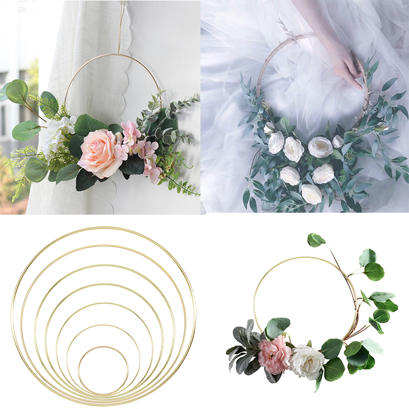 Gold Metal Ring Bride Portable Garland Artificial Flower Rack DIY Wedding Wreath Circle Girls Catching Dream Hoop Hanging Decor