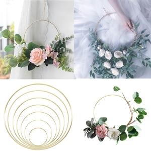 Image 1 - Gold Metal Ring Bride Portable Garland Artificial Flower Rack DIY Wedding Wreath Circle Girls Catching Dream Hoop Hanging Decor