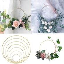 ゴールドメタルリング花嫁ポータブル花輪造花ラックdiyの結婚式の花輪サークル引く夢フープ装飾