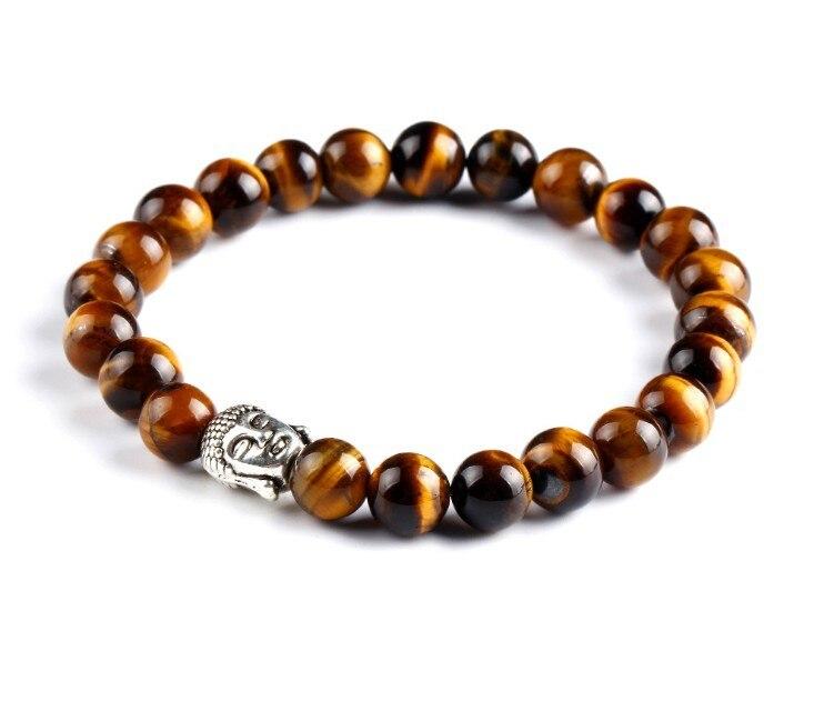 8MM Natural Stone Charm Bracelets Alloy Buddha beads For Women and Men Bracciali lava pulseiras Bracelets