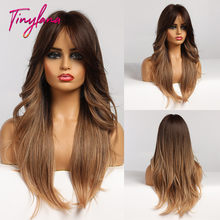 Perruques synthétiques longues ondulées avec frange, perruques noires, dorées, miel, brunes, naturelles pour femmes, Cosplay, fibre résistante à la chaleur