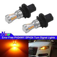 (2) bianco/giallo ambra senza errori PH24WY SPH24 12272 lampadine a LED per Audi Cadillac GMC, ecc. per indicatori di direzione anteriori