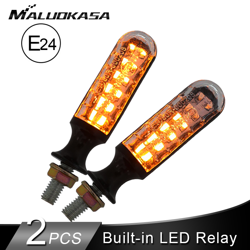 2PCS Motorcycle Turn Signals E-Mark E24 LED flashing Signal Flowing Water Built-in Relay 12LED Blinker Auto Indicators