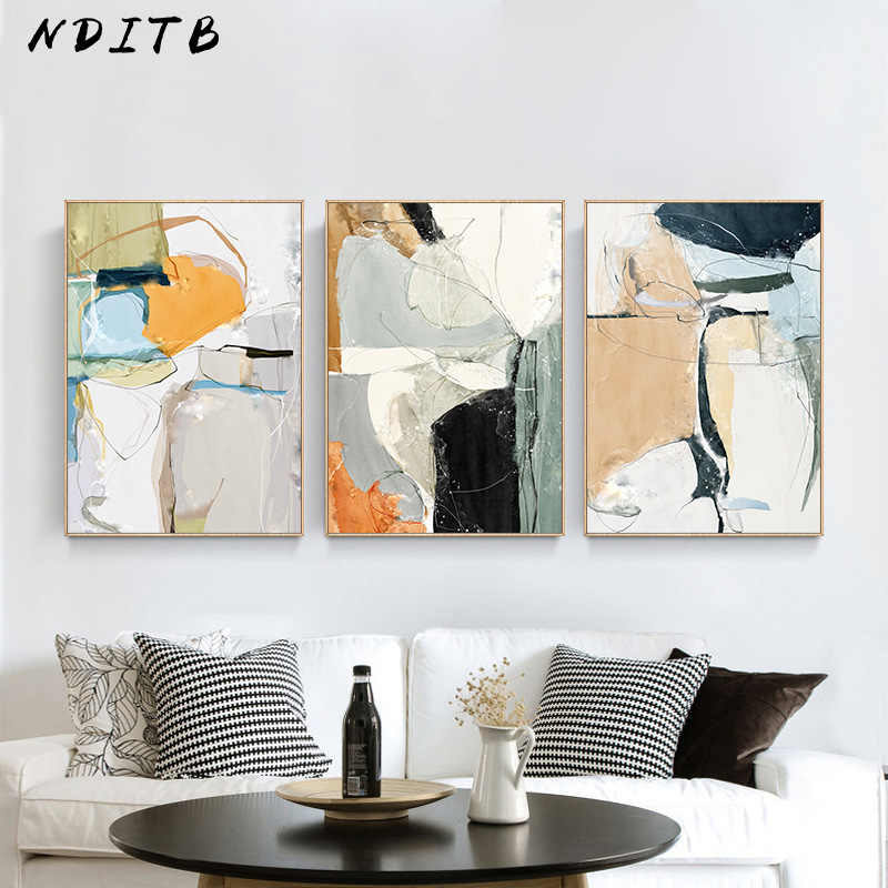 Contemporary Art Multicolor Abstract Shape Canvas Poster Wall Art Print Modern Style Painting Nordic Home Decoration Picture