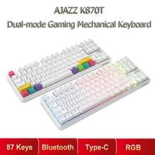 Ajazz k870t 87 teclas rgb teclado mecânico sem fio bluetooth + tipo-c modo duplo interruptor mecânico teclado de jogos para pc