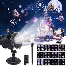 Рождественский лазерный проектор, анимационный эффект IP65, внутренний/наружный проектор для Хэллоуина, 12 узоров, снежинка/Снеговик, лазерный светильник