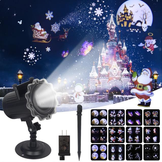 Proyector láser de Navidad con efecto de animación, IP65, para interiores y exteriores, Halloween, 12 patrones, copo de nieve, muñeco de nieve