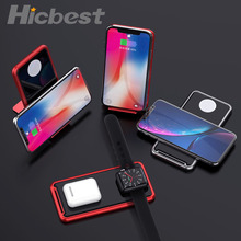 Aluminum Wireless Charger Stand for iPhone Watch Airpods Wireless Charging Induction Charger for iPhone 11 Pro Apple Watch 5 4 3