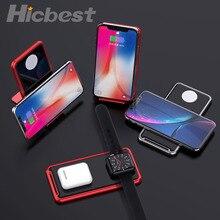 Nhôm Đế Sạc Không Dây Cho Iphone Dây AirPods Sạc Không Dây Cảm Ứng Cho iPhone 11 Pro Đồng Hồ Apple 5 4 3