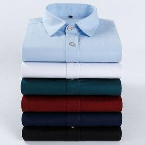 Image 5 - Tamanho grande 6XL 100% Algodão Bordado de Manga Comprida Camisa de Vestido dos homens Camisa Dos Homens Confortável Fino 5XL Plus Size Alta qualidade Barato