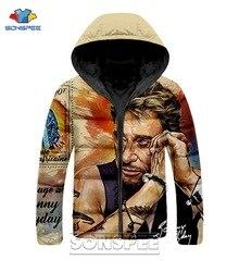 Sonspee frança estrela johnny hallyday roupas cantor harajuku impressão 3d hip hop jaqueta masculina inverno quente streetwear jaqueta superior