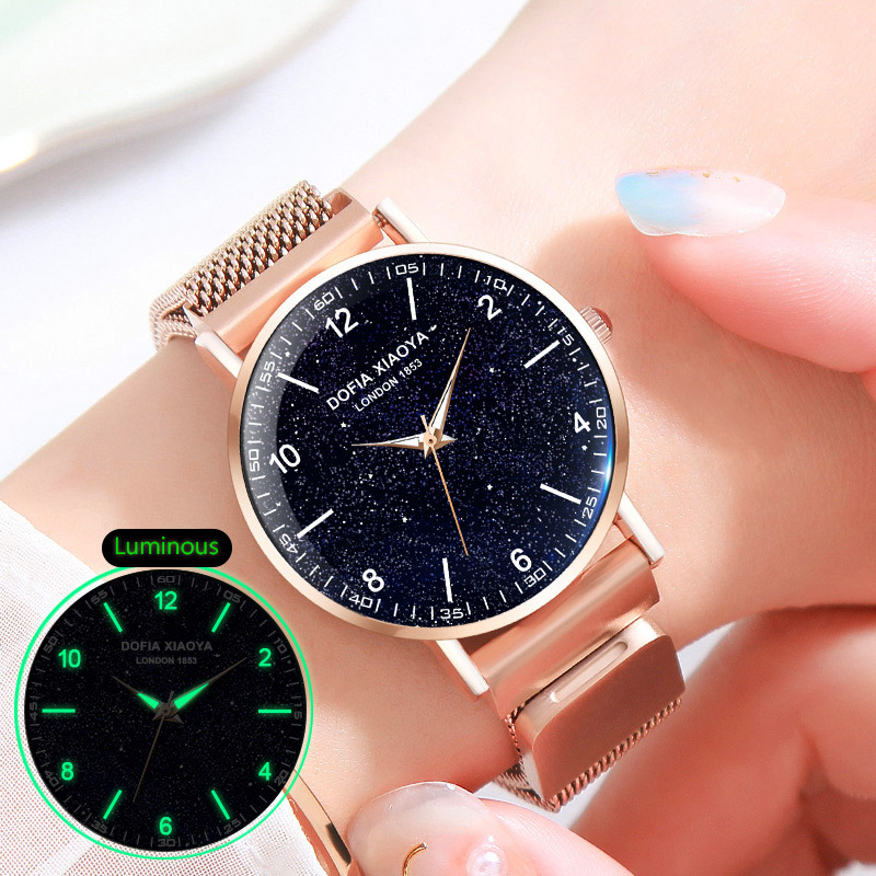 Women Watch Fashion Starry Sky Leather Numeral Milan Magnet Buckle Luxury Fashion Ladies Geometric Roman Numeral Quartz Watch