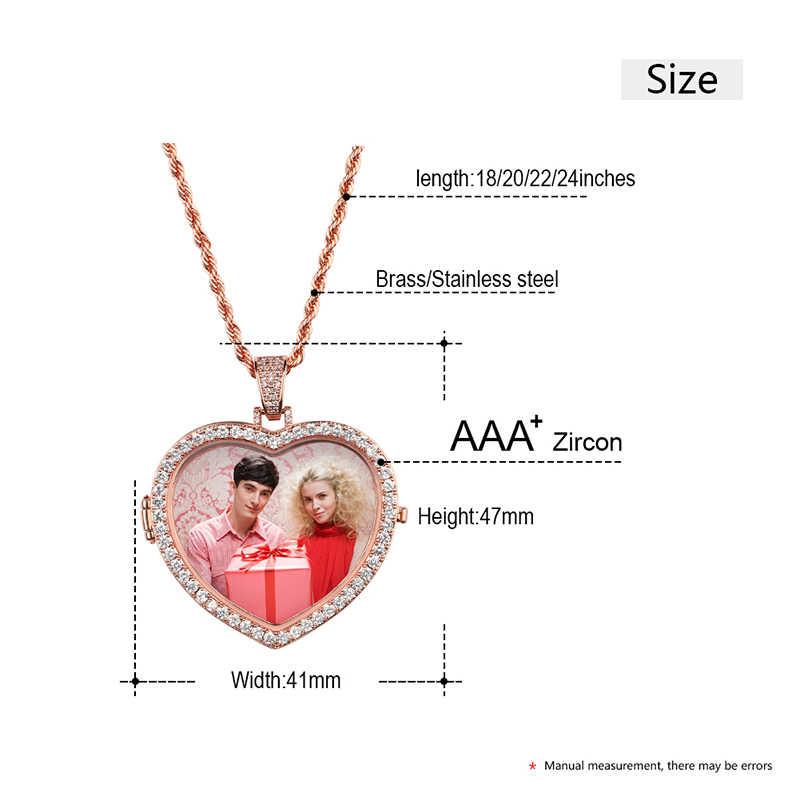 Изготовление под заказ фото сердце кристалл медальоны ожерелья с подвесками для мужчин хип хоп ювелирные изделия кубический циркон теннисная цепочка с подарочной коробкой