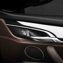 цена на Car-Styling Interior Side Door Handle Bowl Frame Cover Trim Doorknob Decal Strips For BMW X5 X6 F15 F16 E70 E71 Accessories