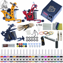 цены на Complete Tattoo Kit 2 Tattoo Machines Gun Black Ink Set Power Supply Grips Body Art Tools Set Tattoo Permanent Makeup Tattoo set  в интернет-магазинах