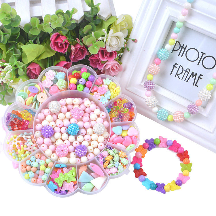 Children'S Educational Toy Beaded Bracelet DIY Necklace Bracelets Acrylic Beads Weak Sight Training In-Person Interaction