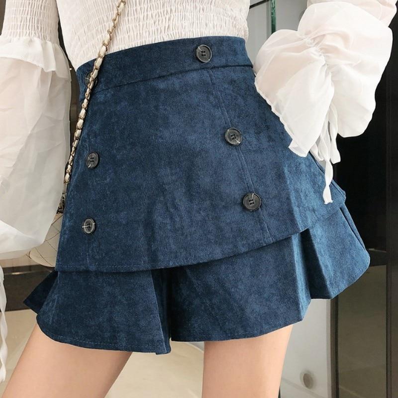 Autumn Corduroy Women's Shorts Ruffle Wide Leg Short Pants Women Fashion Korean High Waist Shorts Casual Vintage Womens Clothing