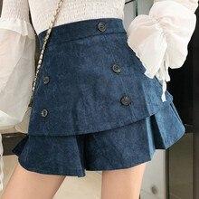 цены Autumn Corduroy Women's Shorts Ruffle Wide Leg Short Pants Women Fashion Korean High Waist Shorts Casual Vintage Womens Clothing