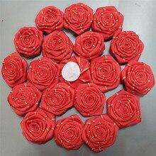1piece/lot 4.5CM Silk Rose Ribbon Artificial Flower Handmade DIY Wedding Bouquet Material Hair Accessories