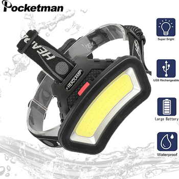 200m Long Lighting Distance Wide Angle COB LED Headlight Use 2x18650 Battery Head Lamp USB rechargeable Lantern For Hike Outdoor