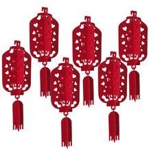 6 pçs chinês vermelho lanterna dia dos namorados coração vermelho weddingparty decorações aniversário festa de aniversário