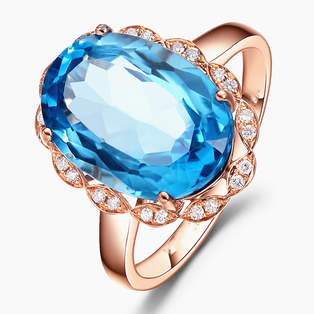 Oval blue crystal aquamarine topaz gemstones diamond rings for women 18k rose gold color jewelry bague bijoux wedding party gift