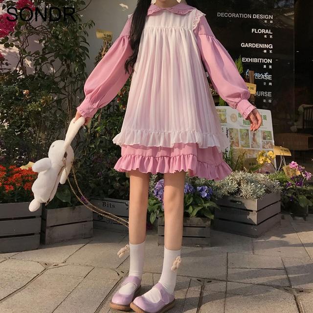 Sweet Cute Kawaii Girls Lolita Dress Princess Maid Vintage Ruffles Dresses Puff Sleeve Red Black Pink Women Dress Round Collar 1