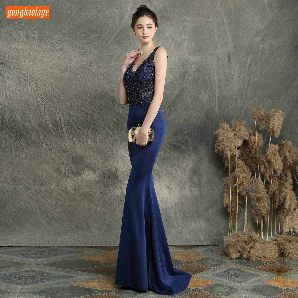 Sexy Dark Navy Long Evening Dresses V Neck Lace Appliqued Beaded Mermaid Formal Dress Women Party Slim fit Pageant Evening Gowns - 3