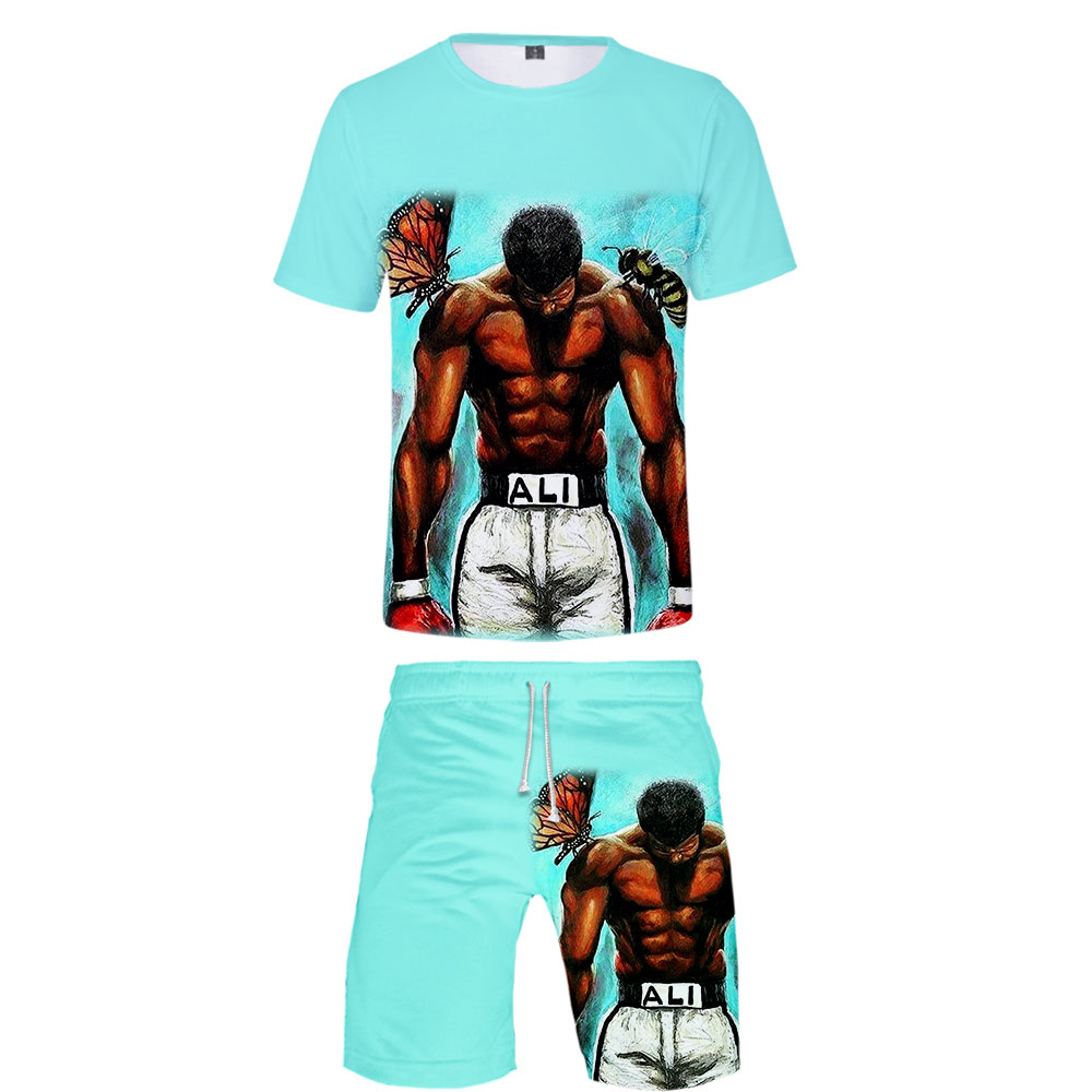Muhammad Ali Two Pieces Sets 3D Print Float Like A Butterfly Sting Like A Bee 1942-2016 Men Summer Tops Tees Men High Quality