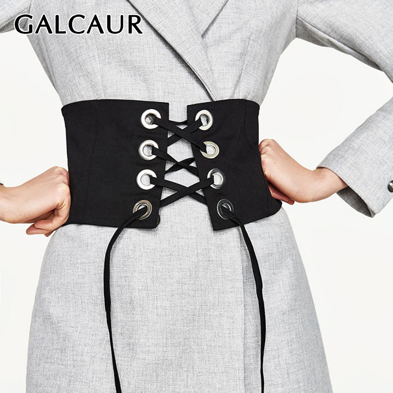 GALCAUR Casual Bandage Women's Cummerbunds Hollow Out Lace Up Elegant Waist Seal For Female Clothing Fashion 2020 Spring Tide