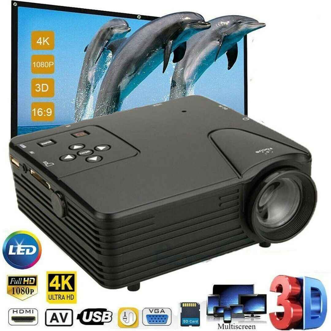 1080P Portable Mini LED Proyektor HD 4K 3D Video Home Theater Cinema Multimedia