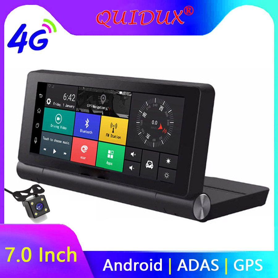 QUIDUX 7 Inch 4G Car DVR Camera GPS FHD 1080P Android Dash Cam Navigation ADAS Car Video Recorder Dual Lens with Reverse image image