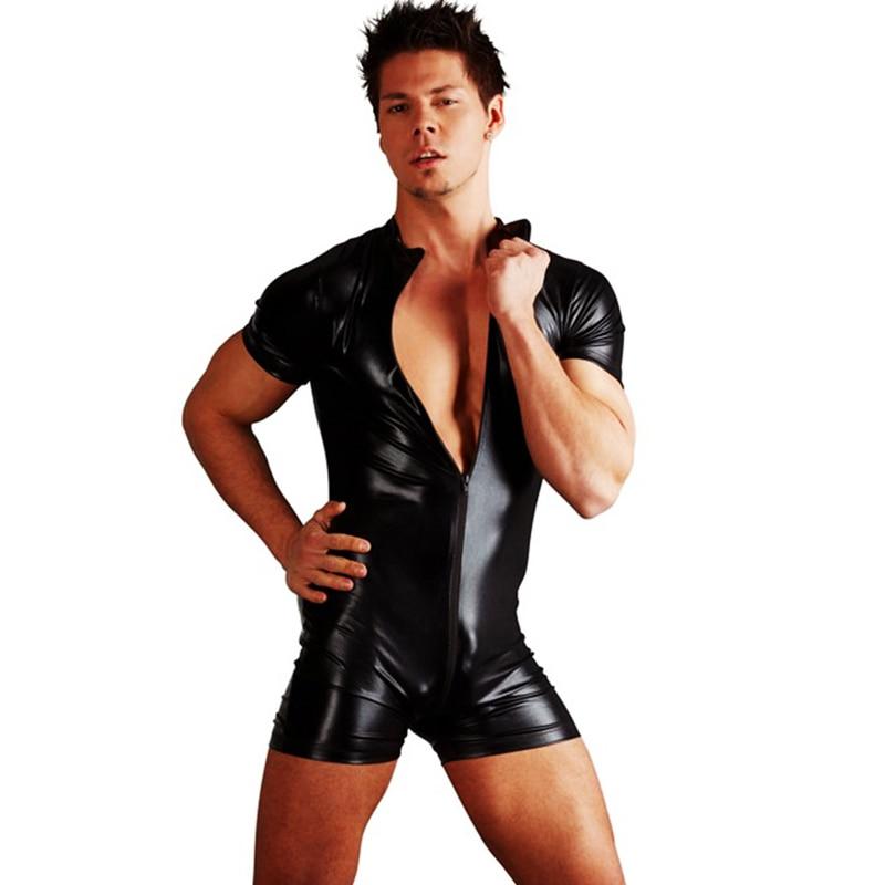 Twinso Men Sexy Wetlook Faux Leather Catsuit Bodysuit Hot Erotic Lingerie Zentai Gay Fetish Wear PVC Costume Zipper Pub Clubwear