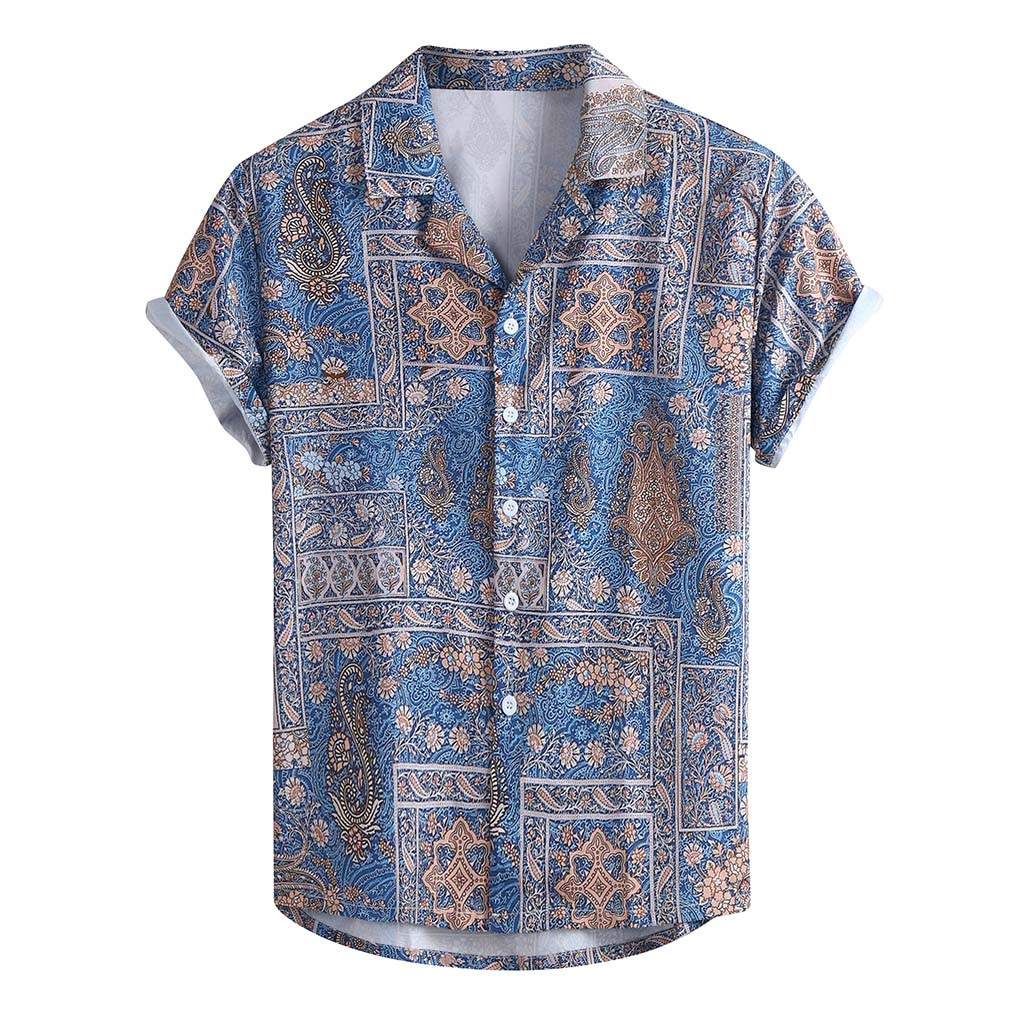 Factory Direct Sales Men's Summer Fashion Casual Lapel Print Short Sleeve Shirt Top Blouse Men's Shirts Winter  Purchasing