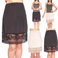 2019 neue Mode Frauen Unterrock Spitze Up Mesh Verstärktes Einfarbig Hohe Taille Intimate Sheer Halbe Unterrock Petticoat Slips