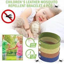 4 sztuk zestaw skórzana bransoletka komara dla dzieci nadaje się do wewnątrz i na zewnątrz jednolity kolor repelenty szybka dostawa Dropshipping tanie tanio CN (pochodzenie) KOMARY Komary Bransoletki i Przyciski Brak