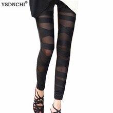 YSDNCHI Black Lace Sexy Bandage Leggings Fashion Ripped Trousers Cut-out Woman Legging Girl Pant Patchwork Legging