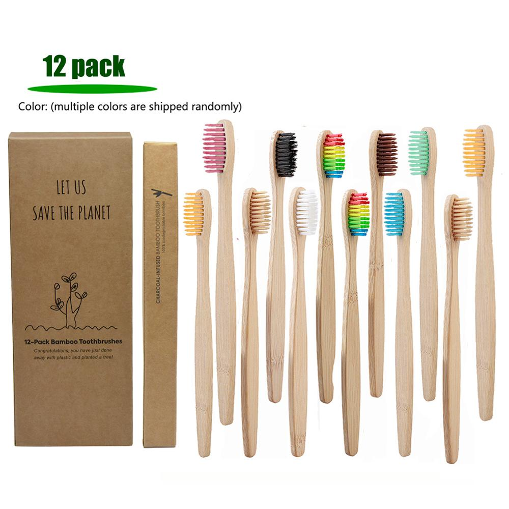 12 PACK Natural Bamboo Handle Toothbrush Colorful Whitening Soft Bristles Bamboo Toothbrush Eco-friendly Oral Care