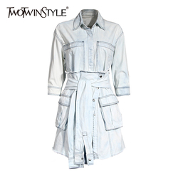 TWOTWINSTYLE Vintage Denim Two Piece Sets For Women Lapel Long Sleeve High Waist With Sashes Tassel Sets Female 2020 Summer New